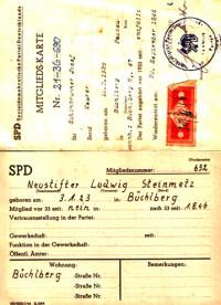 Die Mitgliedskarte von Ludwig Neustifter aus dem Jahre 1946